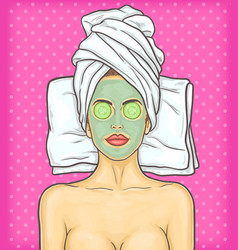 pop art beautiful woman in spa environment vector image
