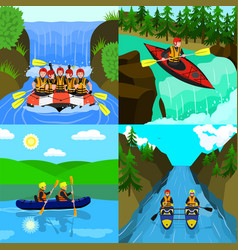Rafting banner set flat style vector