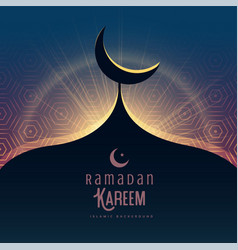 ramadan kareem festival greeting with mosque top vector image