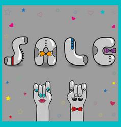 sale artistic font vintage gray letters vector image