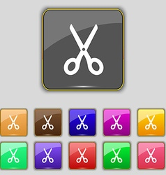 Scissors icon sign Set with eleven colored buttons vector image