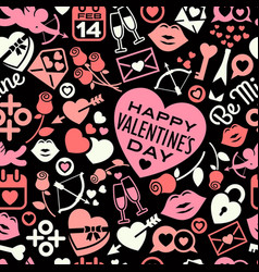 Seamless pattern scattered valentines day icons vector