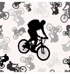 Seamless pattern with bikers silhouettes vector