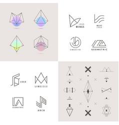 set abstract linear logos vector image