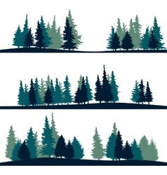 set different landscape with fir-trees vector image