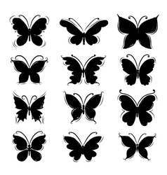 Set of butterfly silhouettes for your design vector