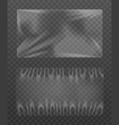 Set transparent polyethylene wrap realistic vector