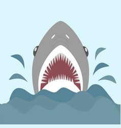 shark with open jaws and sharp teeth vector image