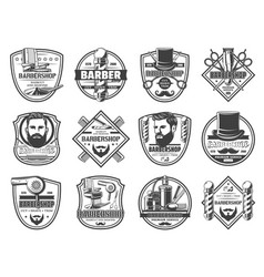 shaving cutting and trimming barber shop icons vector image