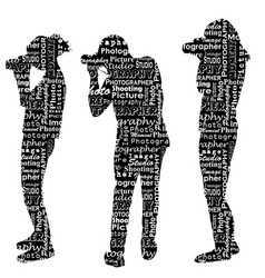 silhouettes of photographers with messages words vector image