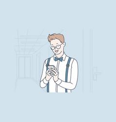 Smm blog selfie concept vector