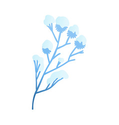 snowy plant branch - winter vector image