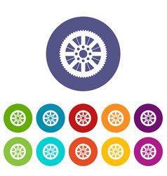 sprocket from bike set icons vector image