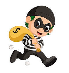 thief carrying bag of money vector image