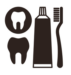 toothbrush toothpaste and tooth icon vector image