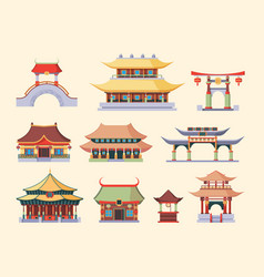 traditional asian palaces and temples set ancient vector image