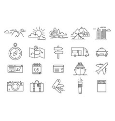 Travel and tourism icon set in trendy linear style vector
