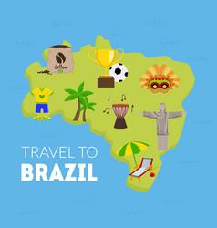 travel to brazil tourist map brazil vector image