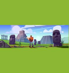 Traveler at ancient mayan pyramids or moai statues vector