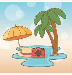 tree palms beach with vacations icons vector image
