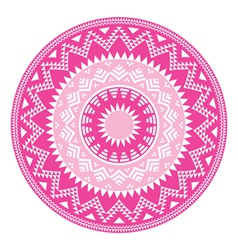 Tribal folk aztec geometric pink pattern in circle vector