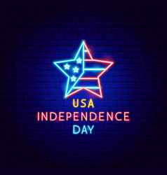 usa independence day neon label vector image