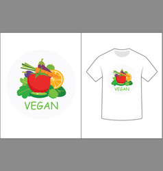 vegan graphics design for t-shirt vector image