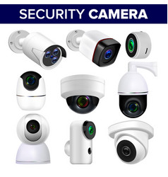 video surveillance security cameras set vector image