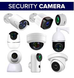video surveillance security cameras set vector image