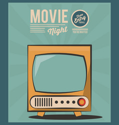 Vintage card movie night tv invitation image vector
