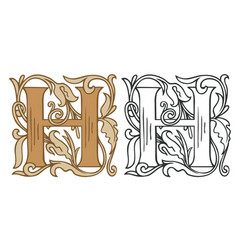 Vintage initial letter h with baroque decoration vector