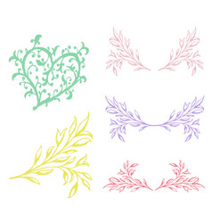 vintage set of hand drawn tree branches vector image