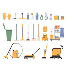 Washing and cleaning equipment isolated icons set vector