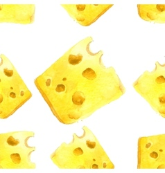 Watercolor cheese seamless vector