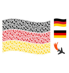 Waving germany flag collage of falling airplane vector