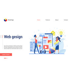 web designers discuss structure new site flat vector image