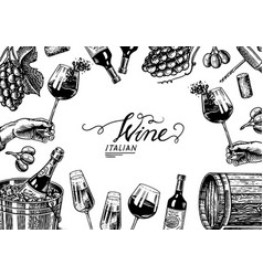 wine background template alcoholic drink in the vector image