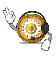 With headphone komodo coin mascot cartoon vector