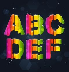 Abstract rainbow font a-f vector