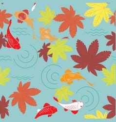 Autumn japanese pond vector