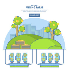 bitcoin mining farm concept in vector image vector image