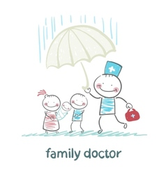 Family doctor holding an umbrella from the rain on vector