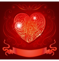 Greeting card with heart and ribbon for wedding vector image vector image