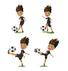 soccer player cartoon pose set vector image