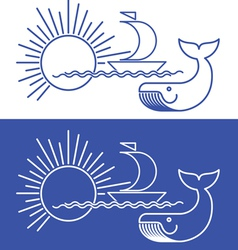 whale yacht vector image vector image