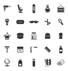 Barber icons on white background vector