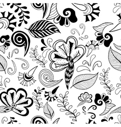 Black-white floral magic seamless pattern vector