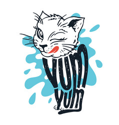 cute kitten says yum-yum vector image