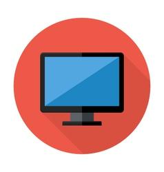 Desktop flat circle icon vector