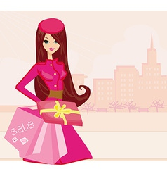 fashion shopping girl with shopping bags and gift vector image